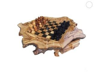 Olive Wood Chess Set Rustic Board