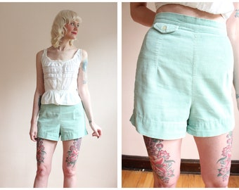 1940s Shorts // Mint Green JANTZEN Cord Shorts // vintage 40s shorts