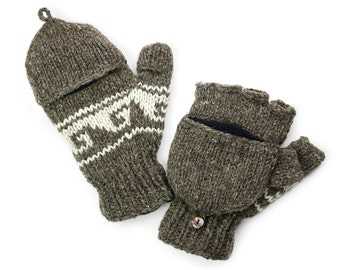 Wool Convertible Mittens, Texting Gloves, Hand Knit Glittens - Natural Brown - 1590Y