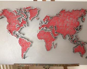 world map in string art, string art world map