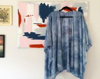 Blue Tie Dye Jersey Gauze Kimono