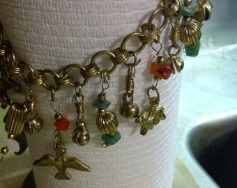 Vintage Brass Middle Eastern Charm Necklace