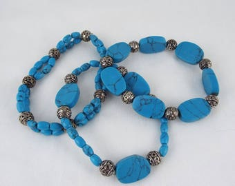 Alaw (Set of 3 Blue Reconstituted Turquoise & Decorative Metal Bead Stretch Bracelets)