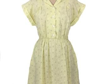 vintage 1950's style shirtwaist dress / Blair / yellow white gray / floral / 1980s does 1950s / women's vintage dress / tag size 12P