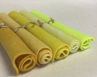 5 Piece Hand Dyed Felt Pack - Yellows