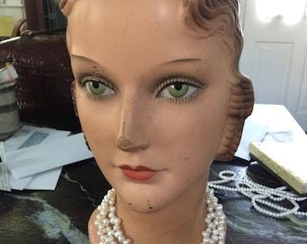 Freshwater pearls in multi 3 strand  teardrop bead,circa 1990