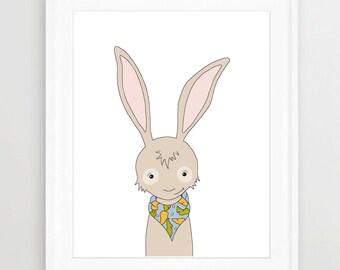 Woodland Wall Art, Bunny, Children's Art, NURSERY decor, WOODLAND, Neutral, Animals