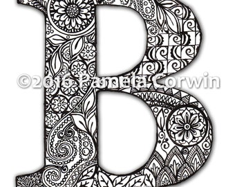 B Monogram Coloring Page