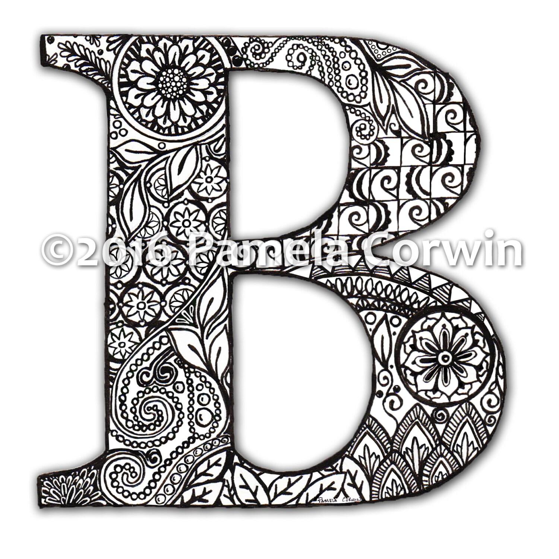 B-Monogramm-Malvorlagen