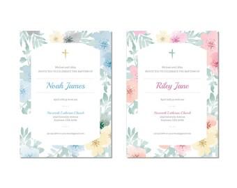 Printable Baptism Invitation, Floral, Pink or Blue, Digital File