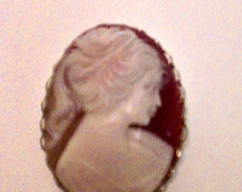 Vintage Coro Cameo Brooch Pin Beautiful Full Size Signed Goldtone