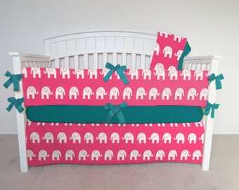 FREE SHIPPING - 4 Piece Crib Set - Elephant crib set, pink elephant, elephant crib bedding