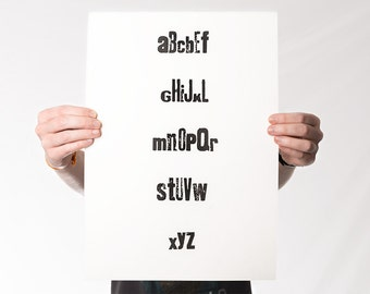 ABC Poster, ABC Art Print, Letterpress Print / Black & White