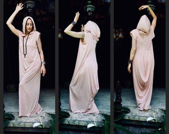 ANGEL ON VACATION Pink cotton dress, Unique sleeveless dress, Hooded yoga dress, Pink hoodie dress Comfy casual lightweight dress Urban wear