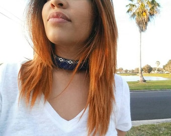 Blue Tribal choker, chokers, boho choker, Bohemian choker, vintage, Gypsy, necklace, jewelry
