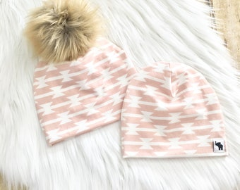 Blush Aztec Pom Beanie // Pink Beanie // Baby Girl Beanie // Toddler Beanie // Newborn Beanie // Baby Beanie // Winter Cold Weather Hat