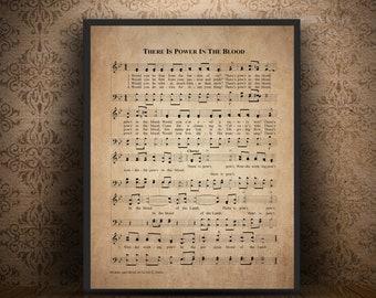 Blood of jesus etsy there is power in the blood hymn print sheet music art hymn art stopboris Gallery