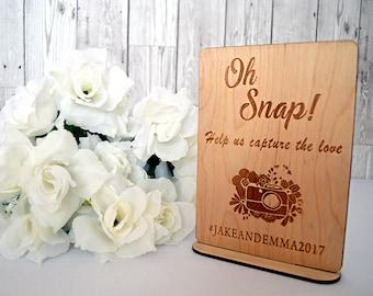Oh Snap Wedding Hashtag Photo Sign, Wedding Sign, Instagram Sign, Wedding Decor