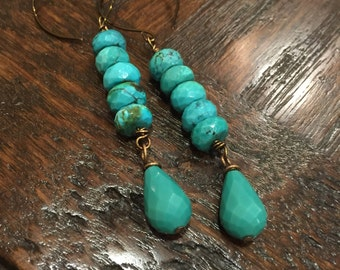 Natural Turquoise Stack Dangle Earrings  Southwestern   Genuine Turquoise   Boho Cowgirl Jewelry