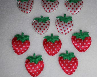 applied 10 Strawberry white / red / deco sew - on booties t - shirt and other... 2.5 x 2 - baby.