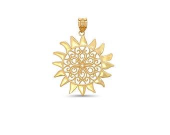 14k Yellow Gold Sun Pendant