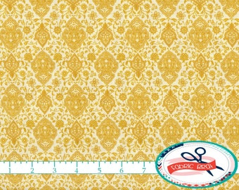 YELLOW DAMASK Fabric by the Yard, Fat Quarter Yellow Fabric Gold Fabric 100% Cotton Fabric Quilting Fabric Apparel Fabric Yardage t1-13