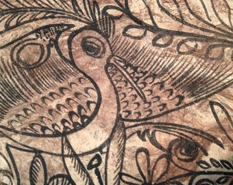 Vintage original amate ink drawing of stylized bird and deer