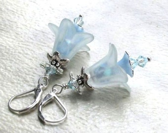 Pale Blue Lucite Flower Earrings, Swarovski Crystals, Silver Accents and Earwires, Spring Floral Jewelry Mother's Day Gift