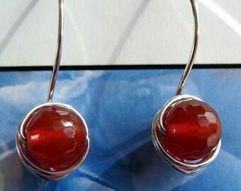 Carnelian Earrings Reddish Carnelian Dangle Earrings Faceted Carnelian Drop Earrings in Sterling Silver