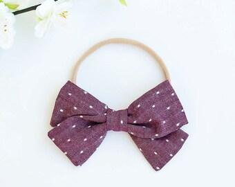 Hair Bow, Bow Headband, Headband, Headbands, Fabric Hair Bow, Hair Clip, Baby Bow, Plaid Bow, Alligator Clip, Bow - Cranberry Chambray Dot