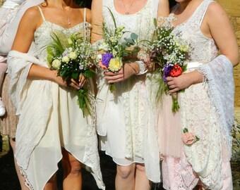 Bespoke lace bridesmaid dress