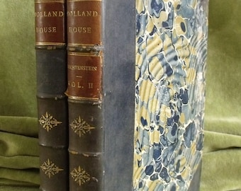 Antique Leather Two Volume Book Holland House Princess Marie Liechtenstein 1874 (6412)
