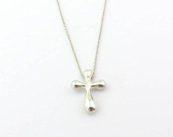 Authentic TIFFANY & CO Sterling Silver Elsa Peretti Cross Pendant Necklace