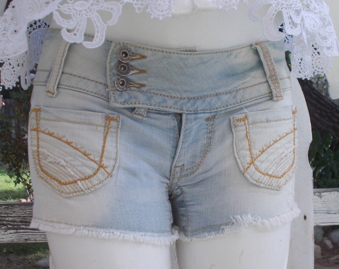 Vintage 90s Mudd Boho Hippie Chic Blue Jeans Womens Distressed Denim Cut Off Short Shorts Size 1