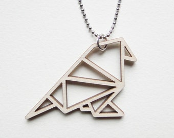 Origami sparrow/bird necklace ~ Laser cut from birch wood ~ Geometric pendant ~ Gift boxed