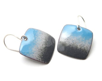 Gray and Blue Dangle Earrings - Modern Enamel Jewelry - Sterling Silver - Birthday Gift for her