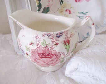 ROSE CHINTZ JUG by Johnson Bros,  pink chintz cream server, English ironstone jug, serving jug,  excellent condition