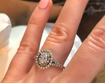 Vintage oval engagement ring Etsy