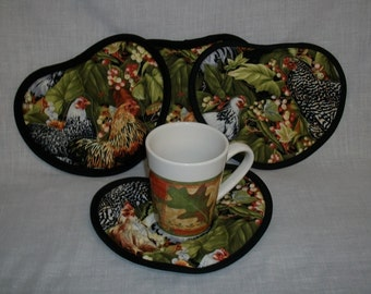 Chickens Mug Rugs set of 4 Heart shaped with berries and leaves  Free shipping within US