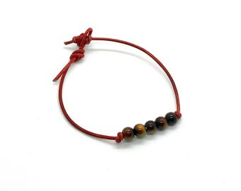 Red leather mood bead bracelet