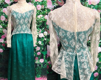 70s Boho Ivory Lace Victorian Dress Green Satin Gown