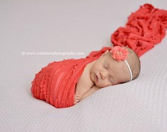 Ruffle Stretch Fabric Wrap Mango Newborn Photography Prop Posing Swaddle