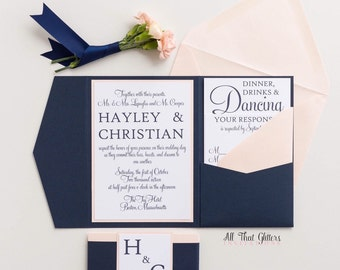 Initial Wedding Invitations Navy, Navy and coral Wedding invitations, gold and blush Wedding Invitations, nautical wedding, Hayley