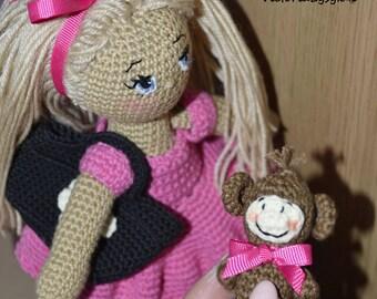 Crochet doll Rosy/ Amigurumi toy/ Handmade doll/ Blonde hair Doll/ Organic doll/ Baby shower Doll