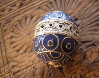 Enamel very large Moroccan marjorelle blue focal focal round barrel bead