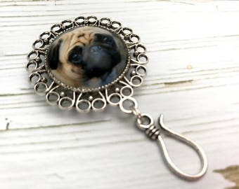 Magnetic Blonde Pug Portuguese Knitting Pin -ID Badge Holder- Stitch Marker Holder- Dog Gift for Knitters-  Coworker Gift