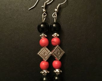 Silver Plated Red and Black Bollywood Inspired Earrings