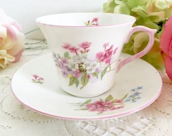 "Vintage Shelley ""Stocks"" Teacup & Saucer | English Teacup, Tea Party Teacup, Floral Teacup, Shelleu Teacup, Shelley China, Pink Teacup"