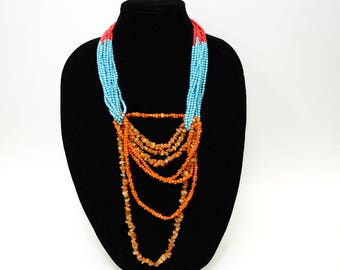 Unique Pink, Orange , And Blue Stone Beaded Multi-Stand Necklace