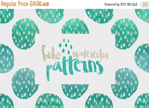 70% OFF Sale 70 Percent OFF Digital paper, Boho Watercolor Patterns - 16 digital pattern backgrounds